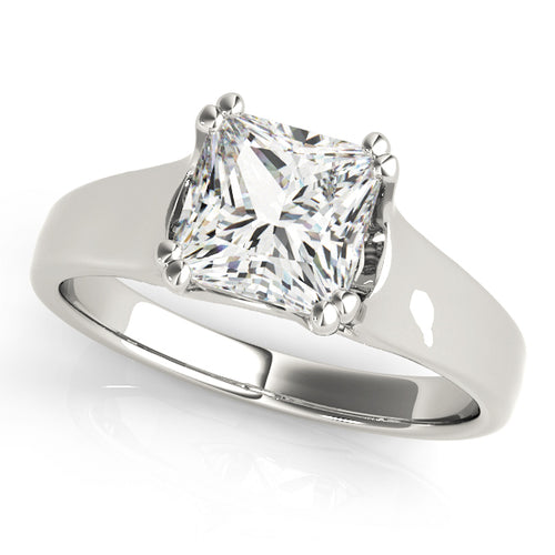 Solid Tapered Princess Cut Engagement Ring