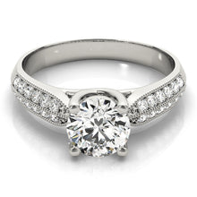 Load image into Gallery viewer, Round Cut Trellis Ring with Beaded Milgrain and Double Row Pave