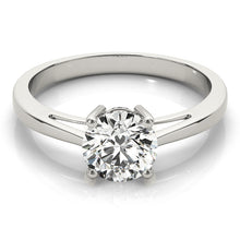 Load image into Gallery viewer, Round Cut Solitaire Engagement Ring with Tapered Band