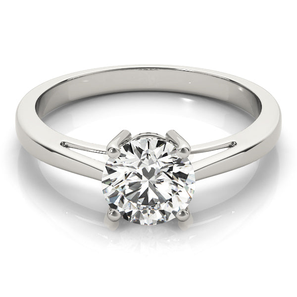 Round Cut Solitaire Engagement Ring with Tapered Band