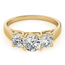 Load image into Gallery viewer, Round Cut Three Stone Trellis Engagement Ring
