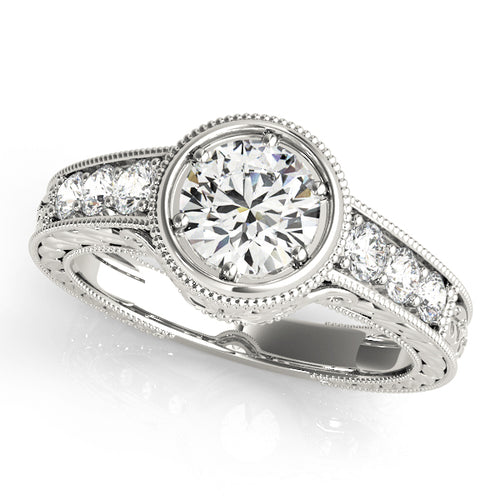 Round Cut Bezel Setting Engagement Ring with Channel Accents