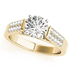 Cathedral Style Engagement Ring with Double Pave Accents