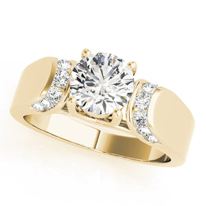 Round Cut Tapered Trellis Mount Accented Engagement Ring