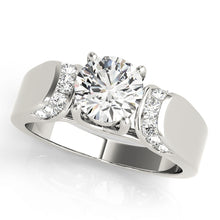 Load image into Gallery viewer, Round Cut Tapered Trellis Mount Accented Engagement Ring