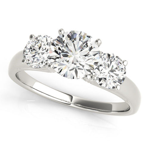 Round Cut Three-Stone Prong Set Engagement Ring