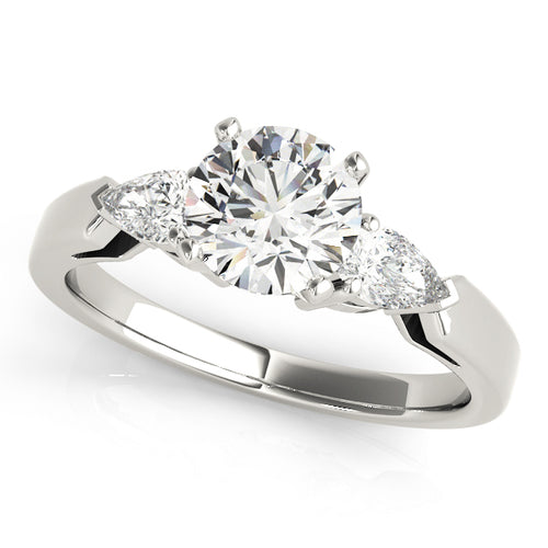Round Cut Three-Stone Engagement Ring with Pear Cut Accent Stones