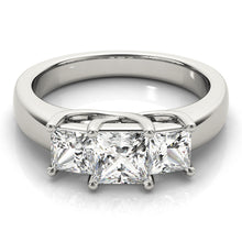 Load image into Gallery viewer, Three-Stone Princess Cut Engagement Ring