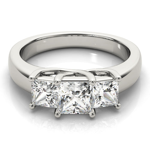 Three-Stone Princess Cut Engagement Ring