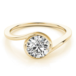 Curved Band Round Cut Solitaire Engagement Ring