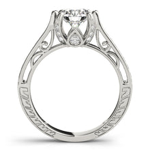 Load image into Gallery viewer, Round Cut Tapered Filigree Engagement Ring with Accents