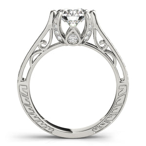 Round Cut Tapered Filigree Engagement Ring with Accents