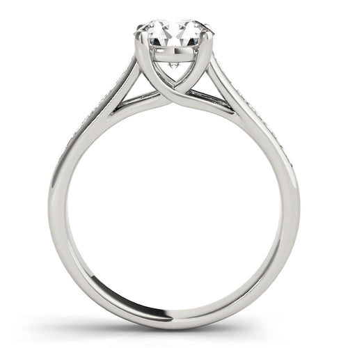 Round Cut Crisscross Engagement Ring with Channel Set Accent Stones