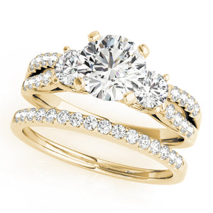Split Shank Three-Stone Round Cut Engagement Ring with Accents