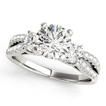 Load image into Gallery viewer, Split Shank Three-Stone Round Cut Engagement Ring with Accents