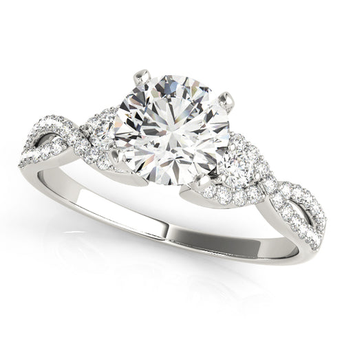 Round Cut Three Stone Engagement Ring with Infinity Accents