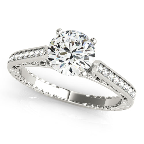 Round Cut Engagement Ring with Channel Accents and Intricate Filigree