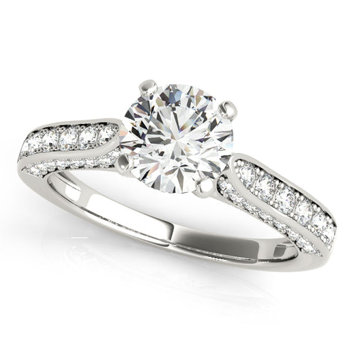 Round Cut Engagement Ring with Channel Set Side Accents