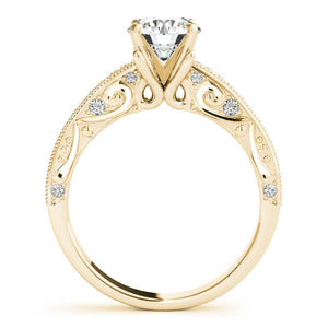 Round Cut Filigree Engagement Ring with Channel Accents