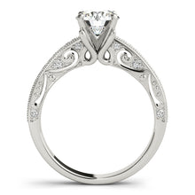 Load image into Gallery viewer, Round Cut Filigree Engagement Ring with Channel Accents