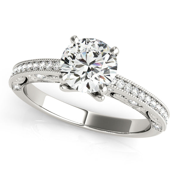 Round Cut Filigree Engagement Ring with Accents