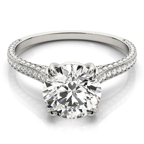 Sparkling Round Cut Engagement Ring with Petite Accents