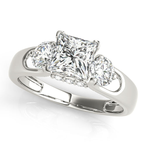 Three-Stone Princess Cut Engagement Ring with Round Accent Stones