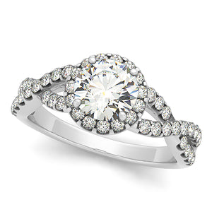 Round Cut Halo Engagement Ring with Infinity Design
