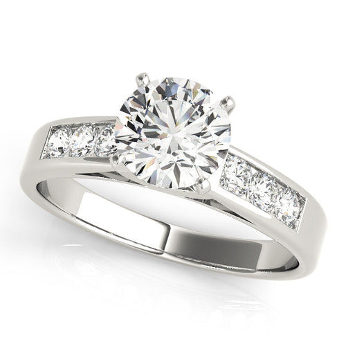 Round Cut Solitaire Engagement Ring with Channel Set Accents