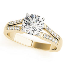 Load image into Gallery viewer, Round Cut Engagement Ring with Accented Split Shank