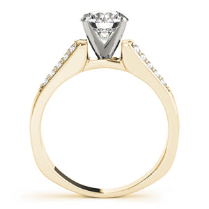 Round Cut Engagement Ring with Accented Split Shank