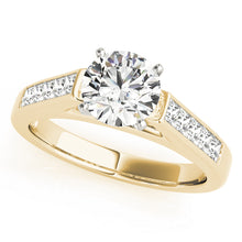 Load image into Gallery viewer, Cathedral Style Round Cut Engagement Ring with Princess Accents