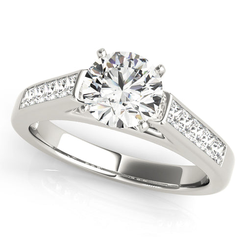 Cathedral Style Round Cut Engagement Ring with Princess Accents