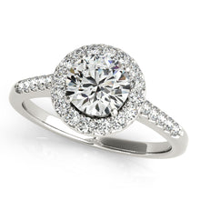 Load image into Gallery viewer, Round Cut Engagement Ring with Scalloped Halo