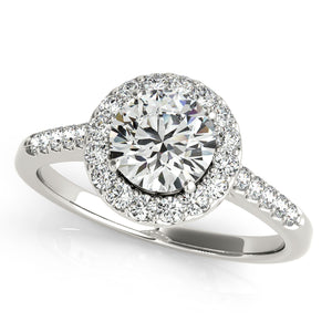 Round Cut Engagement Ring with Scalloped Halo