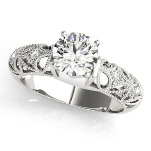 Unique Vintage Style Engagement Ring with Glimmering Accents