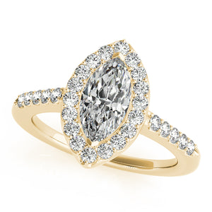 Marquise Cut Halo Engagement Ring