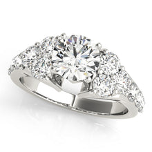 Load image into Gallery viewer, Round Cut Engagement Ring with Exquisite Tapering Accents
