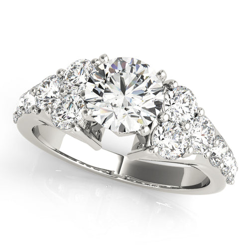 14K White Gold Round Cut Engagement Ring with Exquisite Tapering Accents