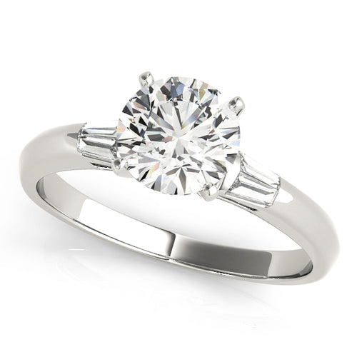 Round Cut Cathedral Style Engagement Ring with Tapered Baguettes