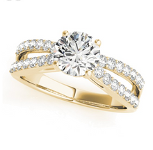 Load image into Gallery viewer, Cathedral Style Round Cut Engagement Ring with Tulip Crown Design