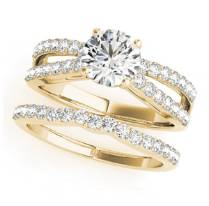 Cathedral Style Round Cut Engagement Ring with Tulip Crown Design