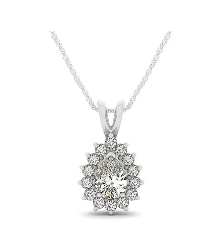 2.0CT Pear Cut Halo Pendant with 16
