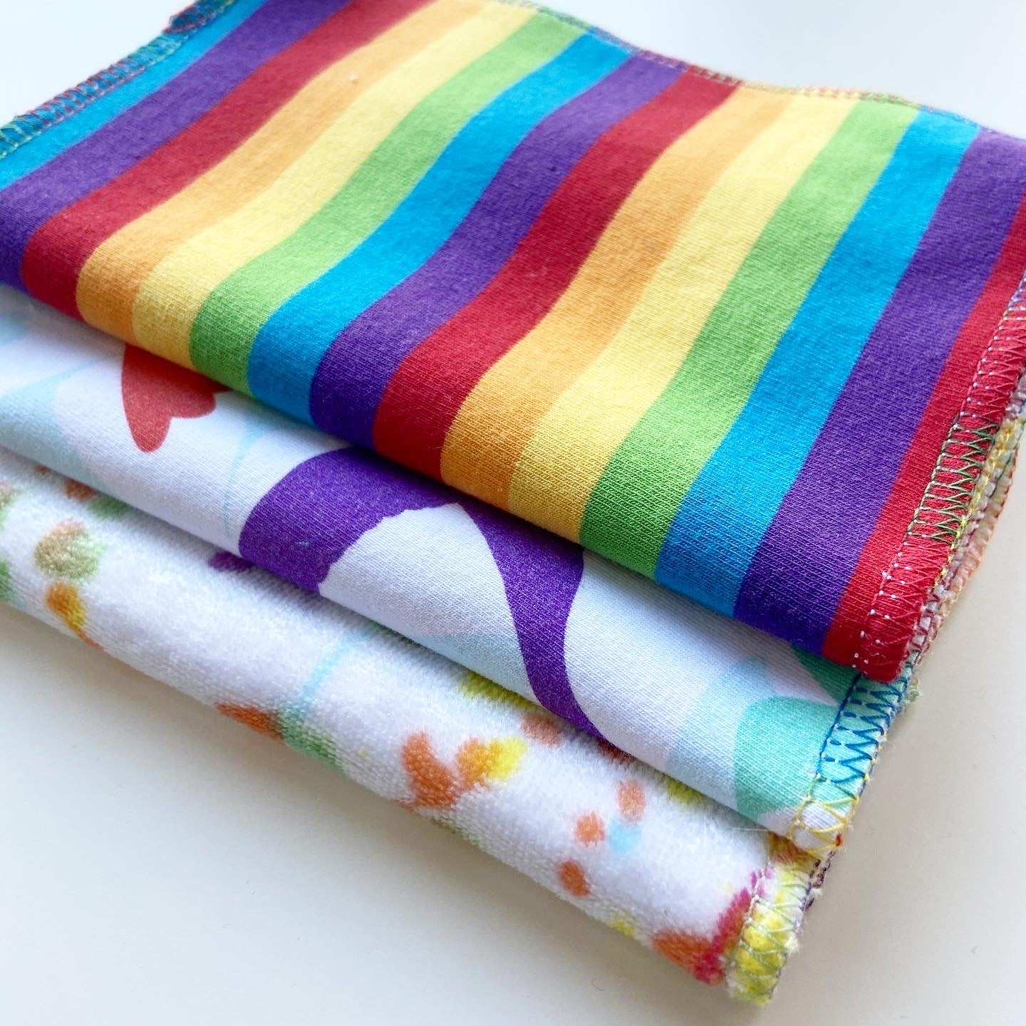 Rainbow Reusable Wipes PACK OF 3