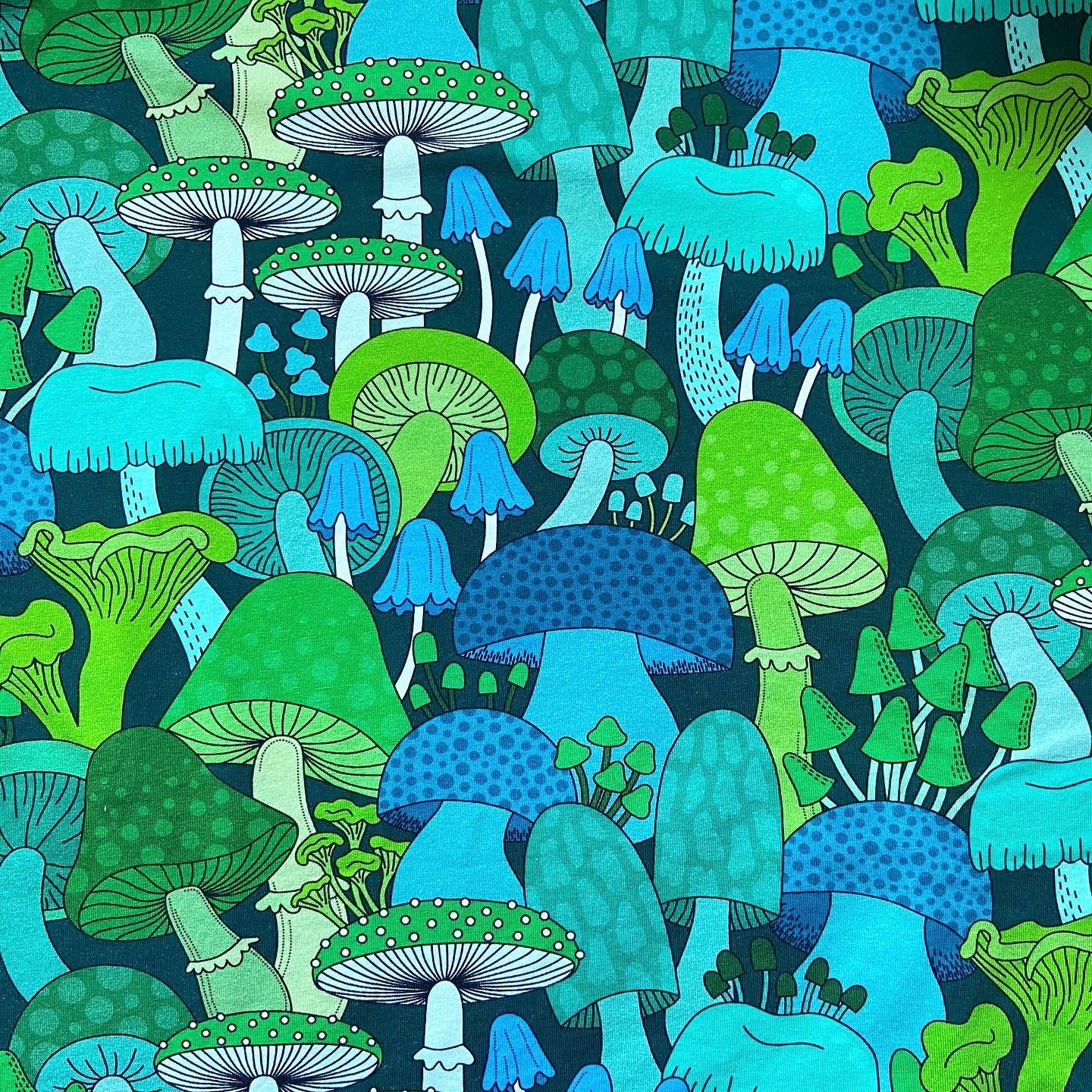 Cloth Pad - Green Mushrooms