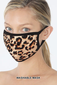 Cheetah Print Face Mask - Tan Brown