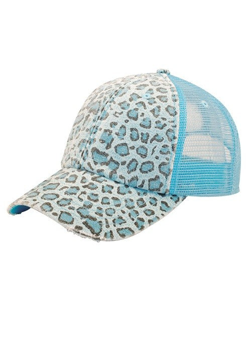 Leopard Mesh Ball Cap - Blue
