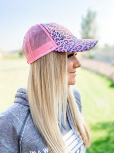 Leopard Mesh Ball Cap - Blush