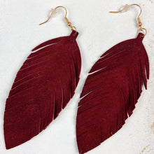 Load image into Gallery viewer, Burgundy Leather Earrings