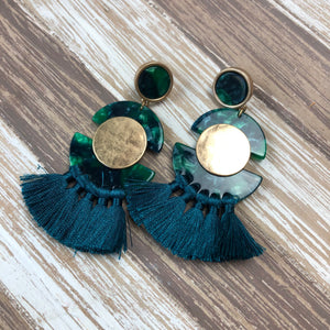Acetate Half Disc Tassel Earrings-Teal